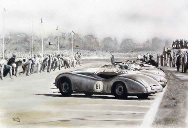 Jaguar XK120 at the start -