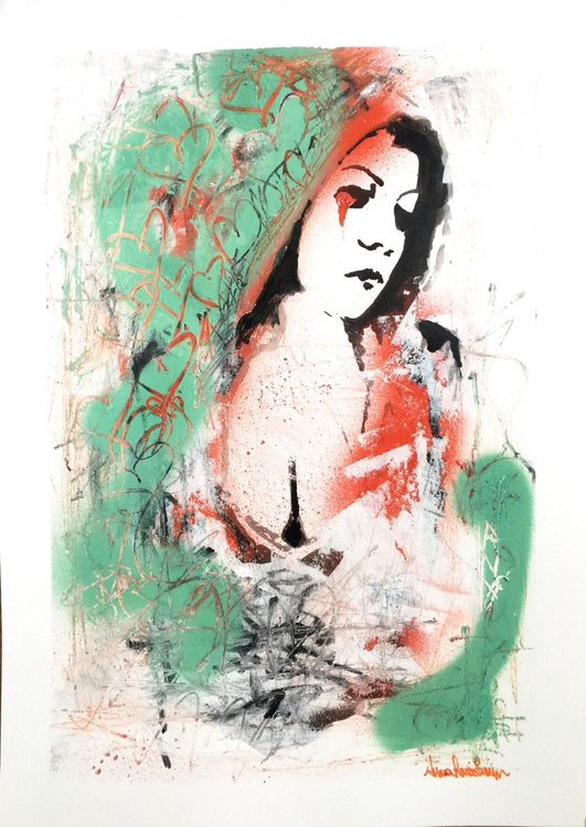 """Graffiti Madonna"" - original ink drawing with spray paint - Image 0"