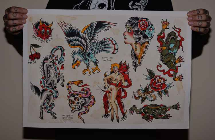 Tattoo Flash #1. 42.0cm x 59.4cm -