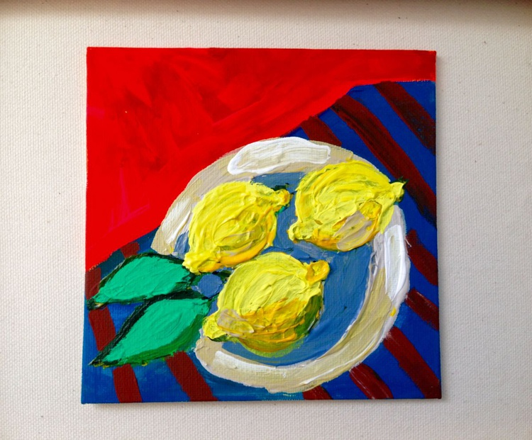 Sour Lemons and the Red wall 6 x 6 - Image 0