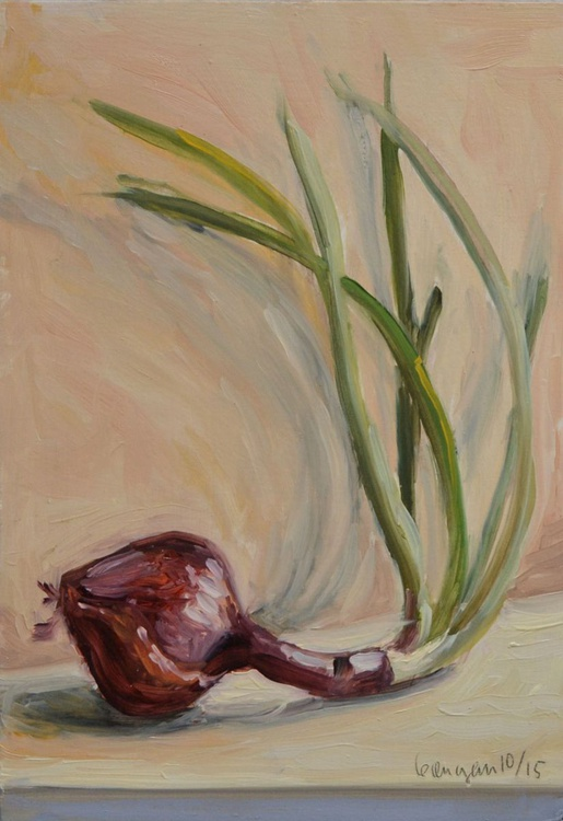 Red Onion with Sprouts Still Life Painting - Image 0