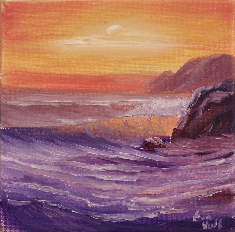 """Ocean Waves IV 6x6"""" small seascape oil painting on deep canvas - Image 0"""
