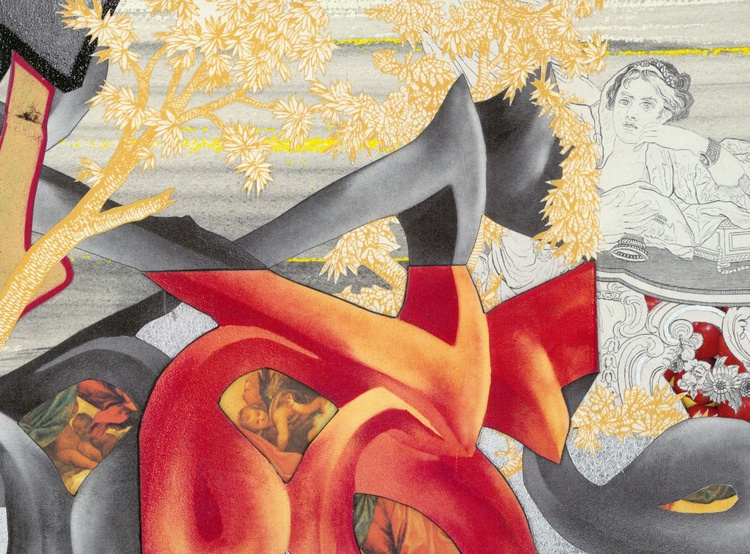 'Protection of Sigismunda'. Hand cut paper & mixed media collage. - Image 0