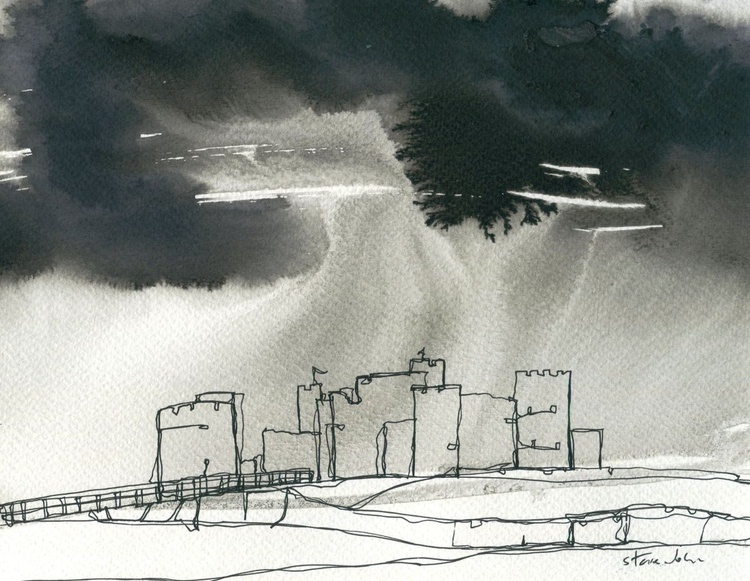 Storm over Caerphilly Castle, Continuous Line Drawing - Image 0