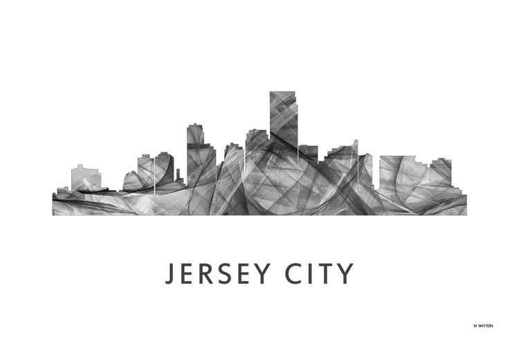 Jersey City, New Jersey Skyline WB BW