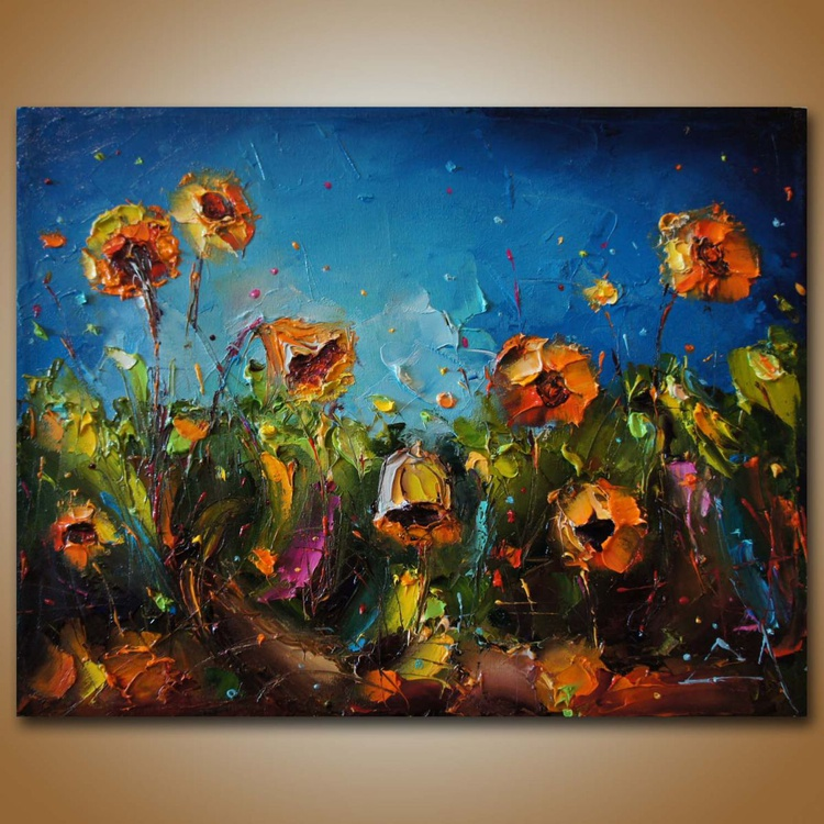Fields of sunflowers , Flowers paintings, original oil on canvas, Free shipping - Image 0