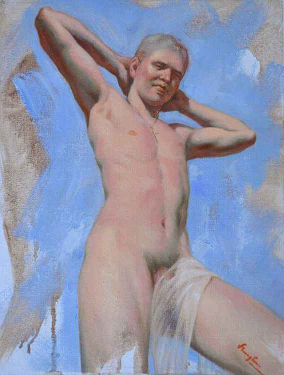 Original Oil paintingl art male nude boy  on linen  #16-4-4-01 -