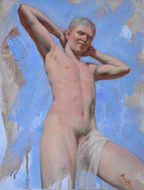 Original Oil paintingl art male nude boy  on linen  #16-4-4-01