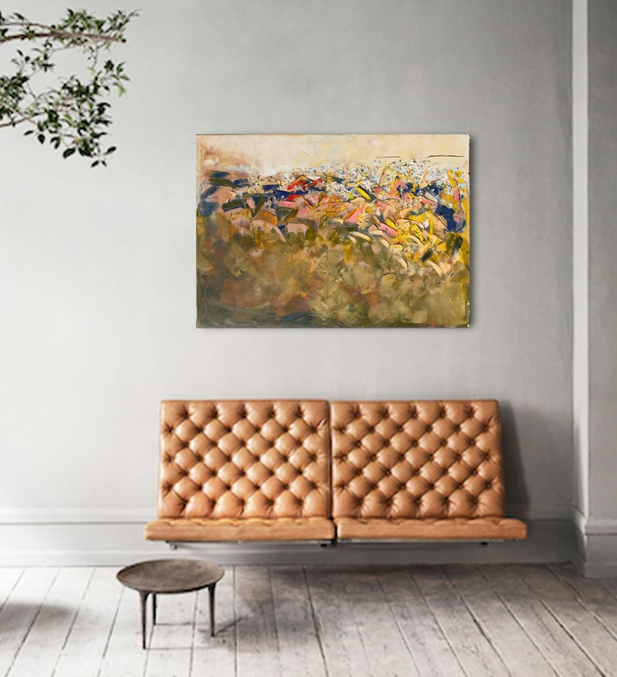 """Abstract painting yellow and blue modern original large canvas art 39.37/27.5. """"Grassland"""" - Image 0"""