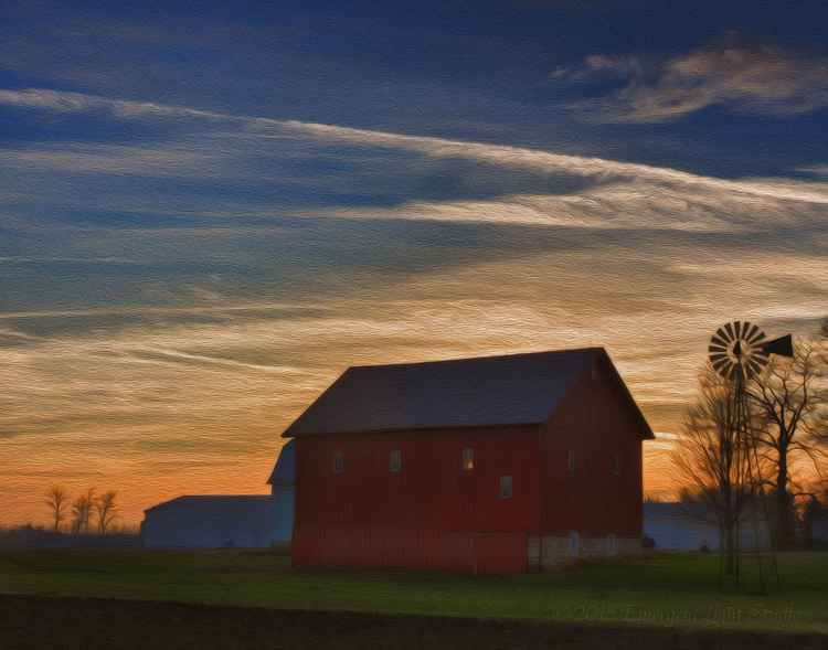 Farm after Sunset -