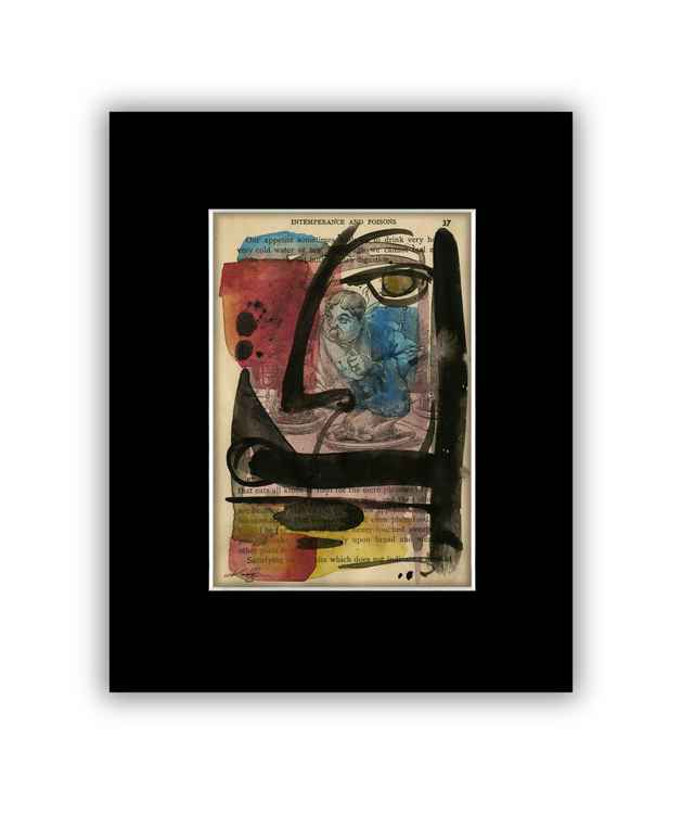 """I See 21"" on Antique Book Page - Abstract Watercolor Painting -"