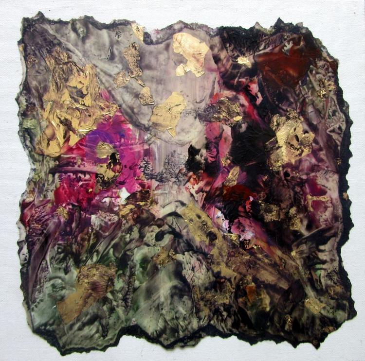 """""""Gold Nuggets""""  mixed media collage mounted on 12""""x12"""" ready to hang canvas - Image 0"""