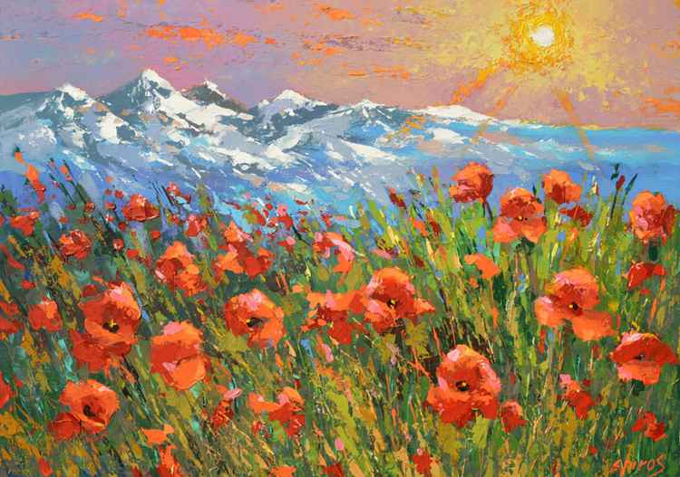 Evening poppies - painting by Dmitry Spiros -