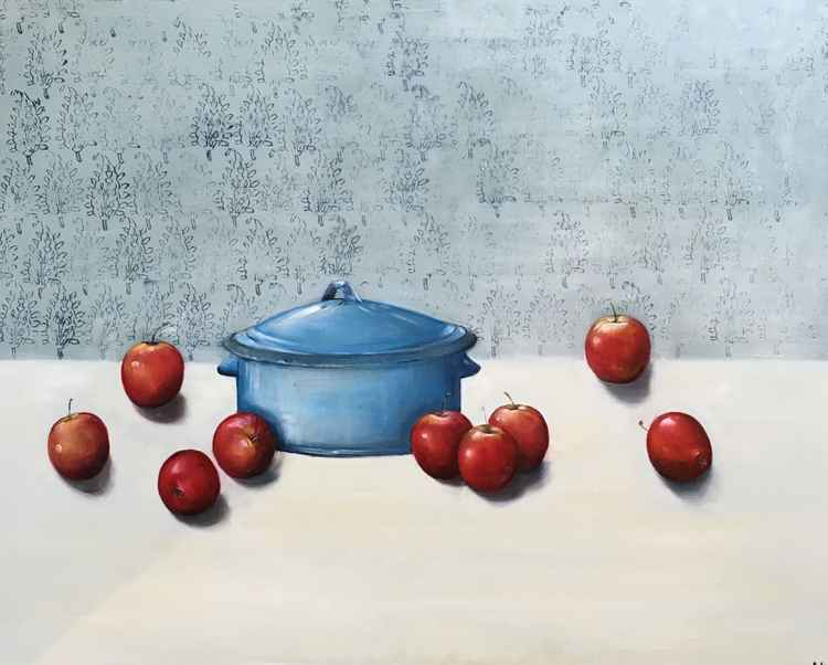 Blue Pot with Apples -