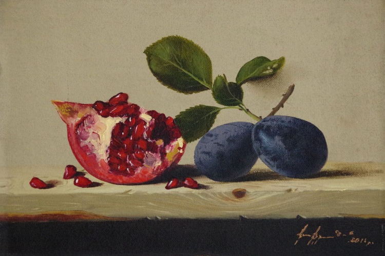 Still Life, Fruits, Original oil Painting, Classic Art, Handmade painting, One of a Kind - Image 0