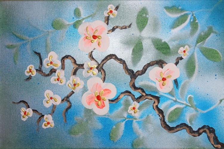 blue Cherry blossom a23 30x20cm floral painting flowers decor original floral art acrylic on stretched canvas spring sakura art wall art by artist Ksavera - Image 0