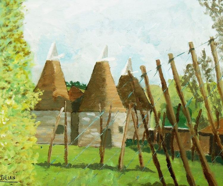 Oast Houses near Maidstone, Kent An original acrylic painting in its own hardwood frame. - Image 0