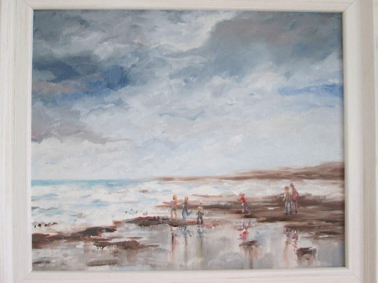 """""""A DAY AT THE BEACH"""", Oil 30.5×25.5cm in a wooden frame - Image 0"""