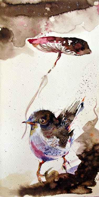 bird & mushroom watercolour original illustration