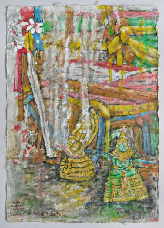 Scarves, Incense, Statues, Devotion at the foot of the tree - Image 0