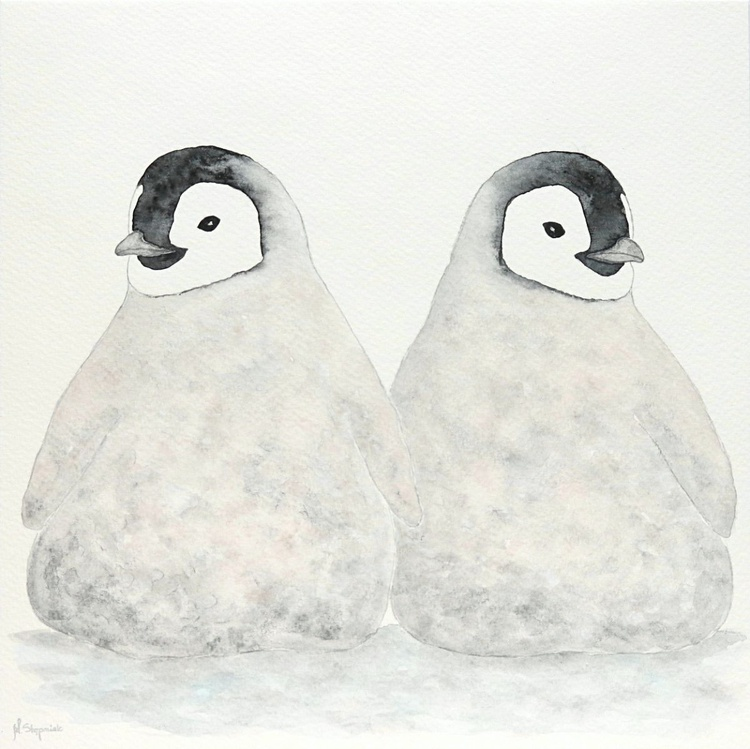 Two emperor penguin chicks VIII - Image 0