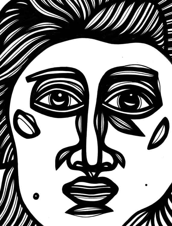Redolent Stare Face Original Drawing -