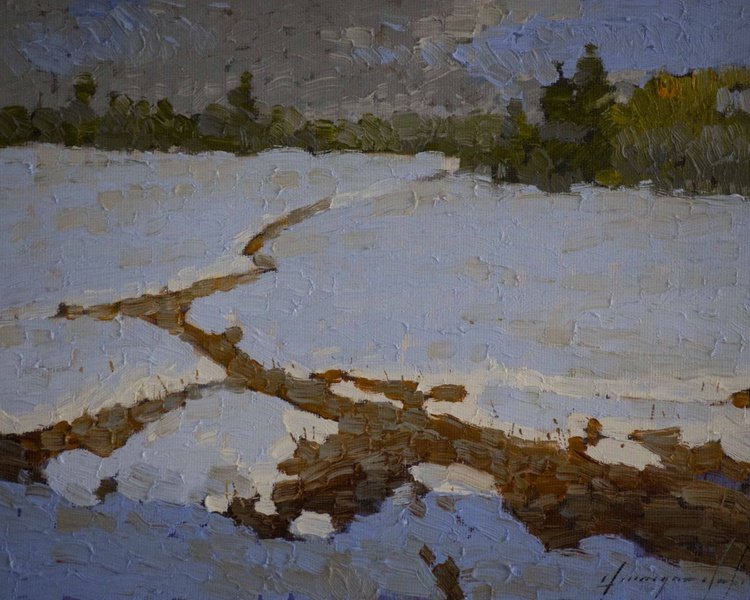 Snow Covered Meadow  Handmade oil Painting on Canvas Signed - Image 0