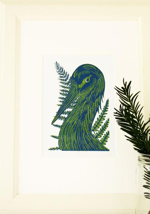 Blue green Crane and Fern - Image 0