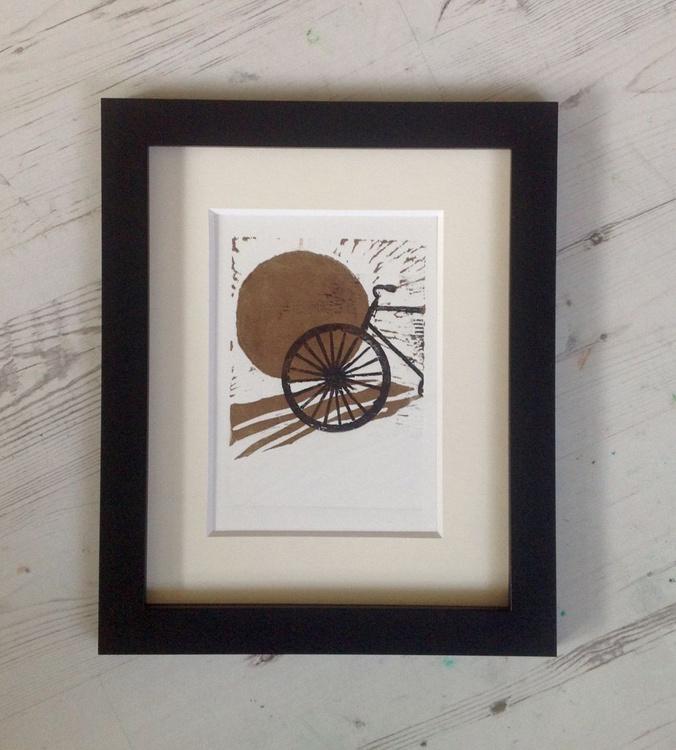 Framed 'Moonlight Bike Ride', Linocut, Ready to Hang - Image 0