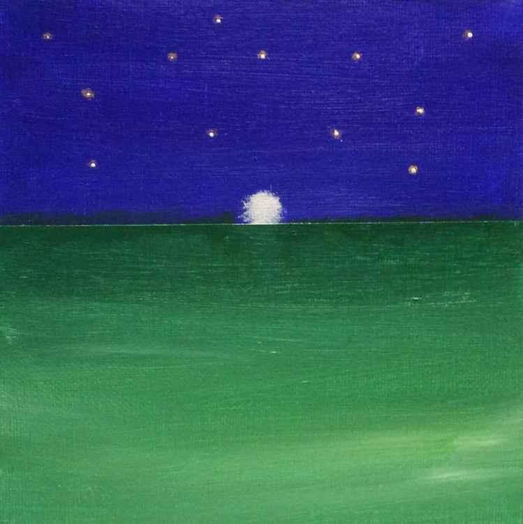 """ sinking moon ""Seascape  ( miniature size )15x15x1cm -"