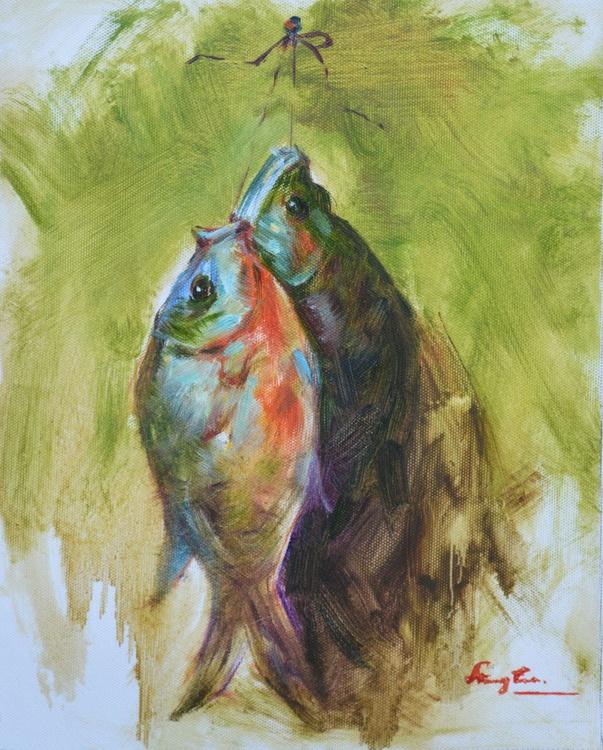 ORIGINAL OIL PAINTING ANIMAL ART FISH ON CANVAS #16-10-2-06 - Image 0