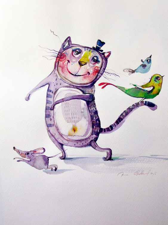 funny cat and birds watercolour illustration