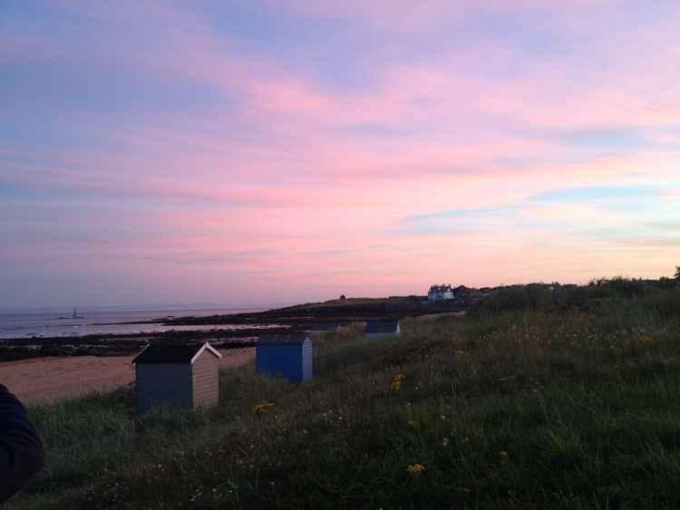 Beach huts at dusk -
