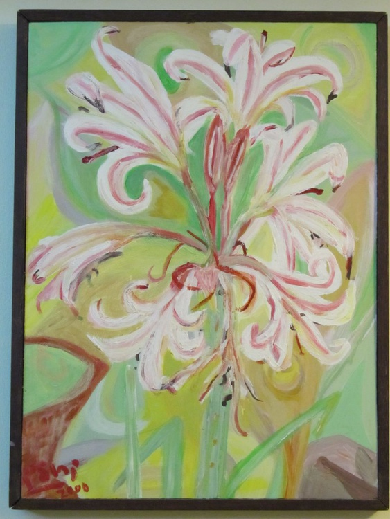 Pink Lilies on Pale Green - Image 0
