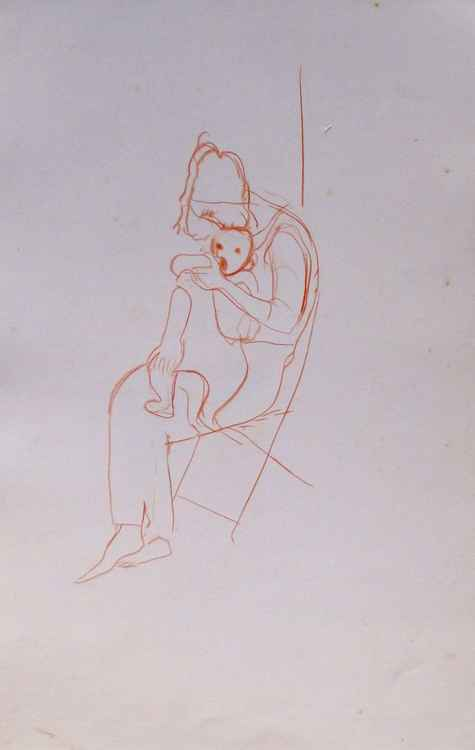 Maternity, sketch for a painting #1, 32x50 cm -