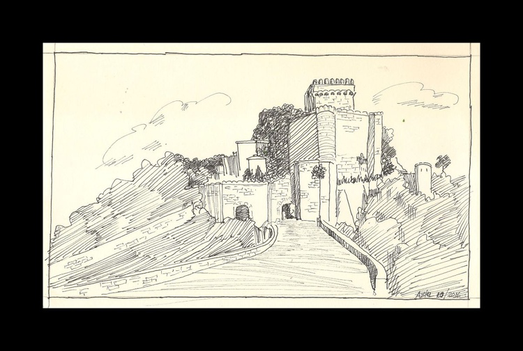 """Spanish Castle- Ink drawing-10.25""""x 6.25"""" - Image 0"""