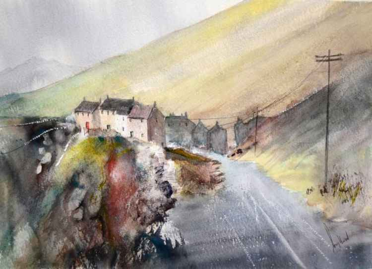 Moortop Village - Original Watercolour Painting