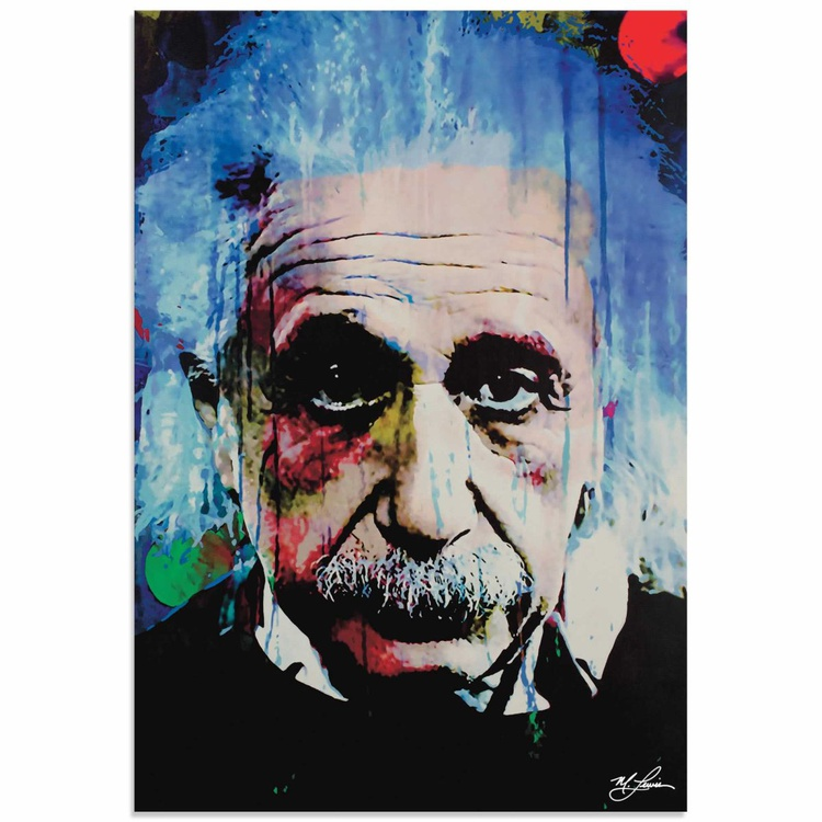 Mark Lewis 'Albert Einstein Questioning Tomorrow' Limited Edition Pop Art Print on Metal - Image 0