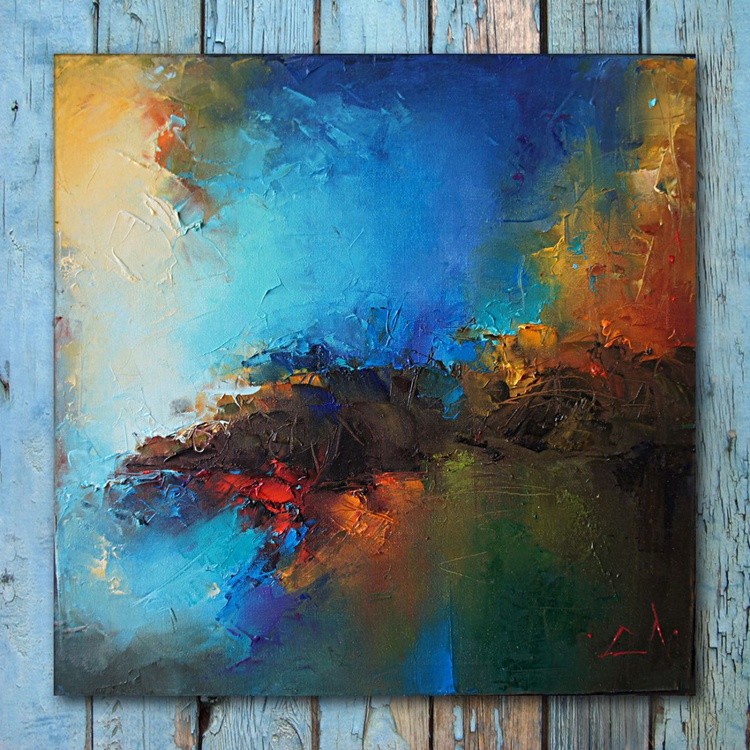 Landscape, Abstract painting, Free shipping - Image 0