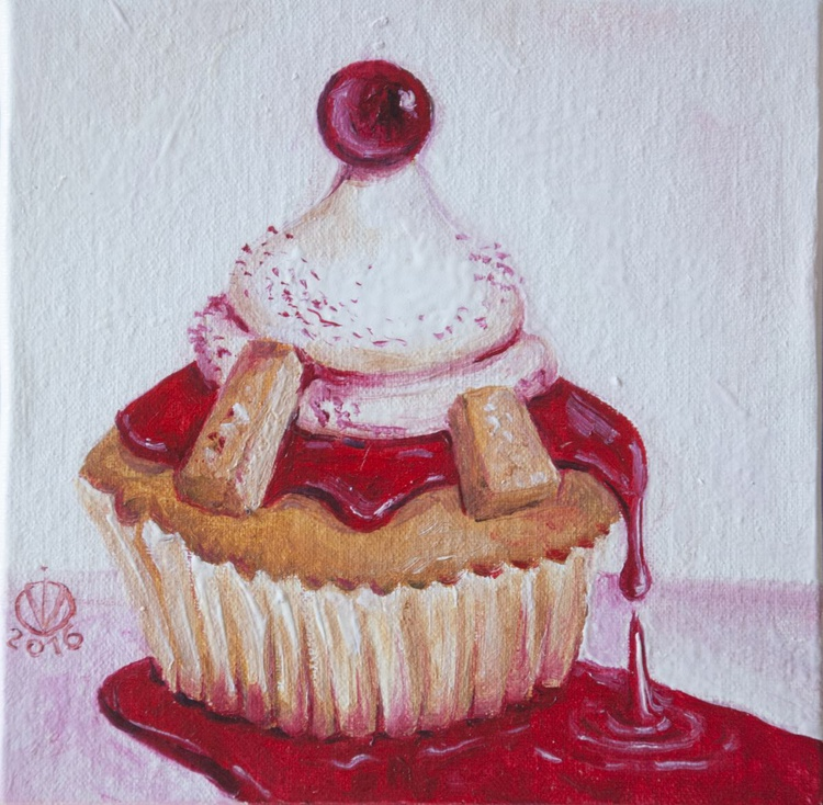Cranberry Muffin (10x10 cm) original oil painting little still life yummy realistic small gift kitchen decor - Image 0