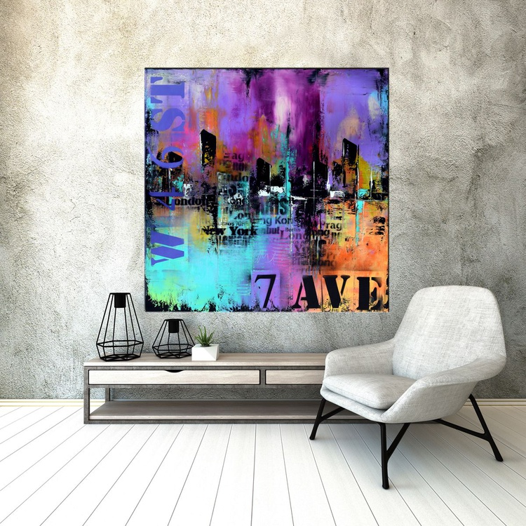 """"""" 46 ST & 7 AVE"""" 36"""" Large Abstract Urban Painting, Art Painting Large industrial modern abstract painting sofa knife art - Image 0"""