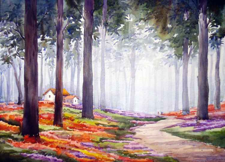 Flowers Garden & Forest-Watercolor on Paper Painting -