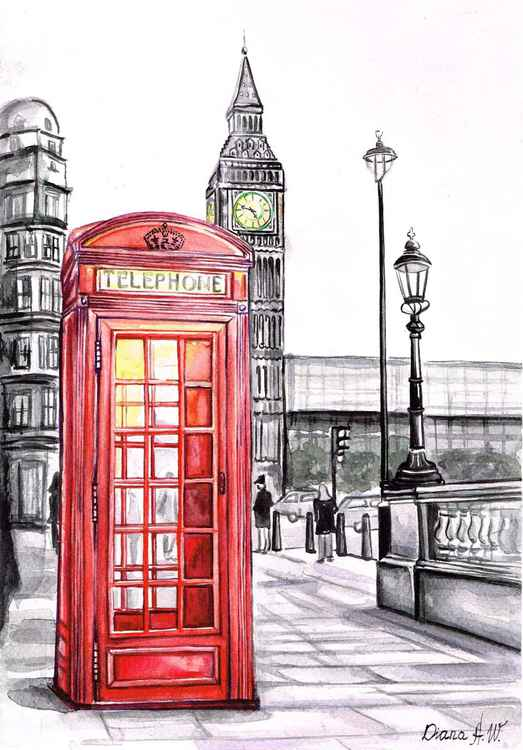 London, Red telephone Box, Big Ben, Original Watercolour Painting, home interior, home decor, Gift Idea -