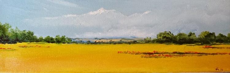 yellow fields original oil 10x30cm - Image 0