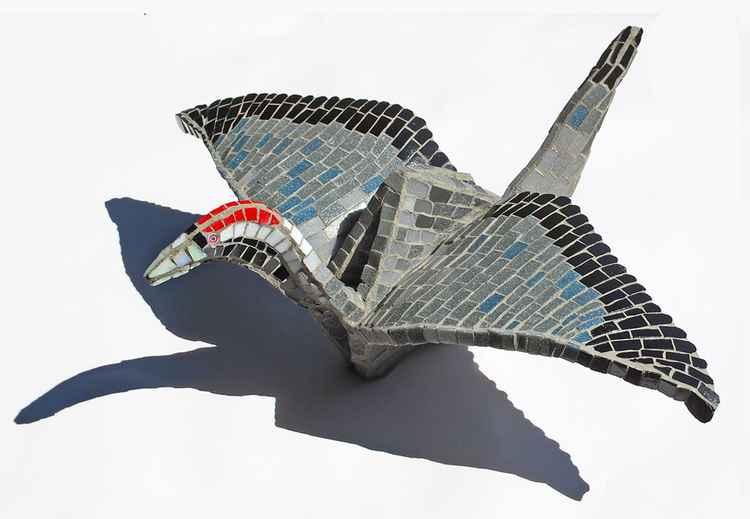 Origami glass crane -