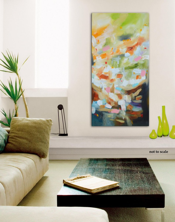 Early Morning in the Garden of Delights  - Original white blue painting on canvas, abstract floral painting, modern art - Image 0