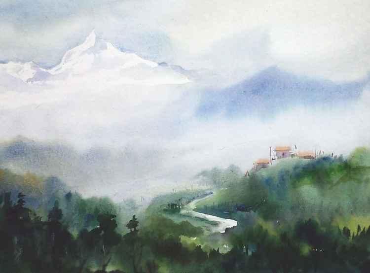 Mountain Peak & Mountain Landscape - watercolor painting -