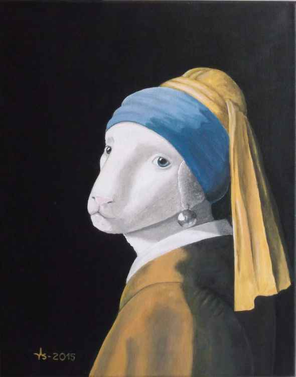 The Lamb with the pearl (animal metamorphosis after Vermeer) -