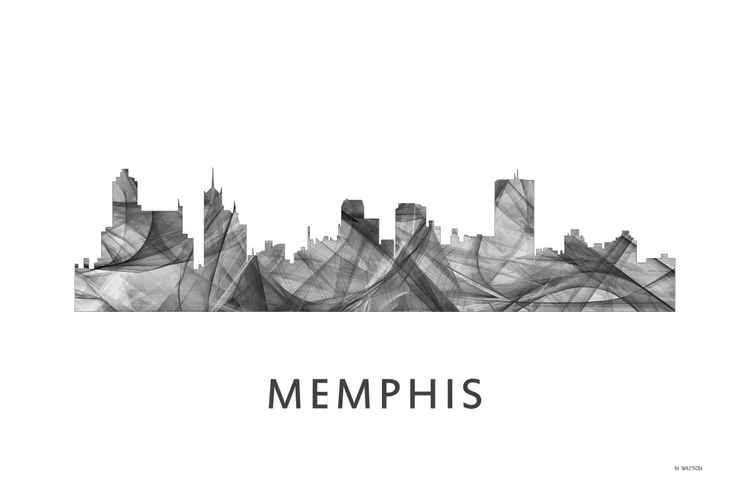 Memphis Tennessee Skyline WB BW -