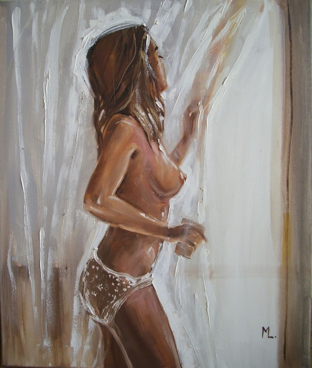""""""" WAITING FOR YOU ... """" - original oil painting on canvas, gift - Image 0"""